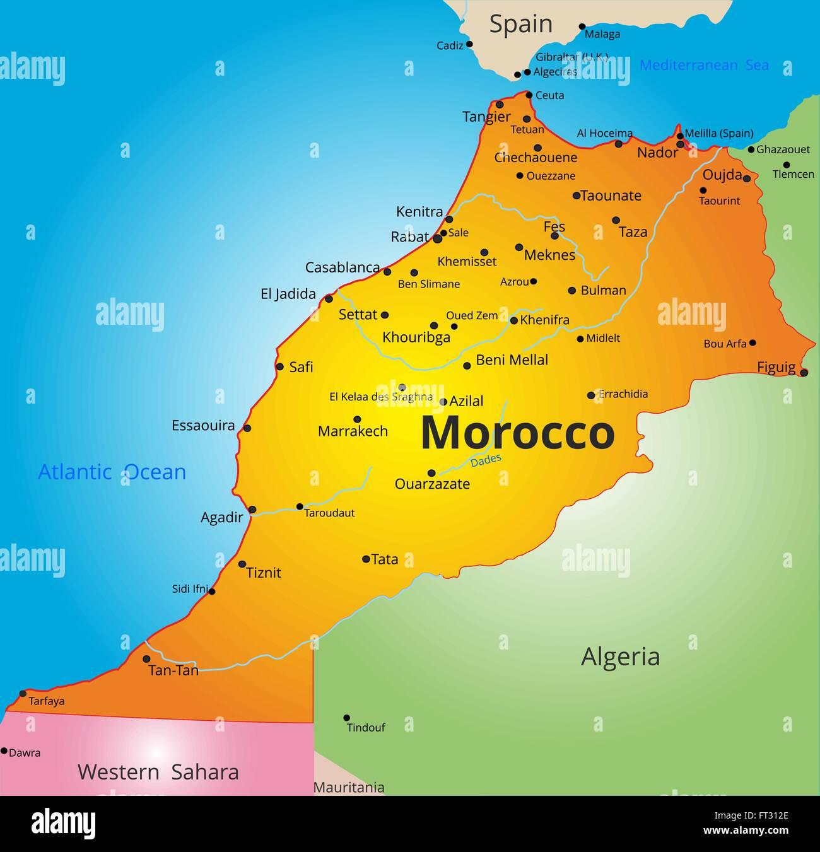 Cartina Politica Del Marocco.Mappa A Colori Del Paese Marocco Immagine E Vettoriale Alamy