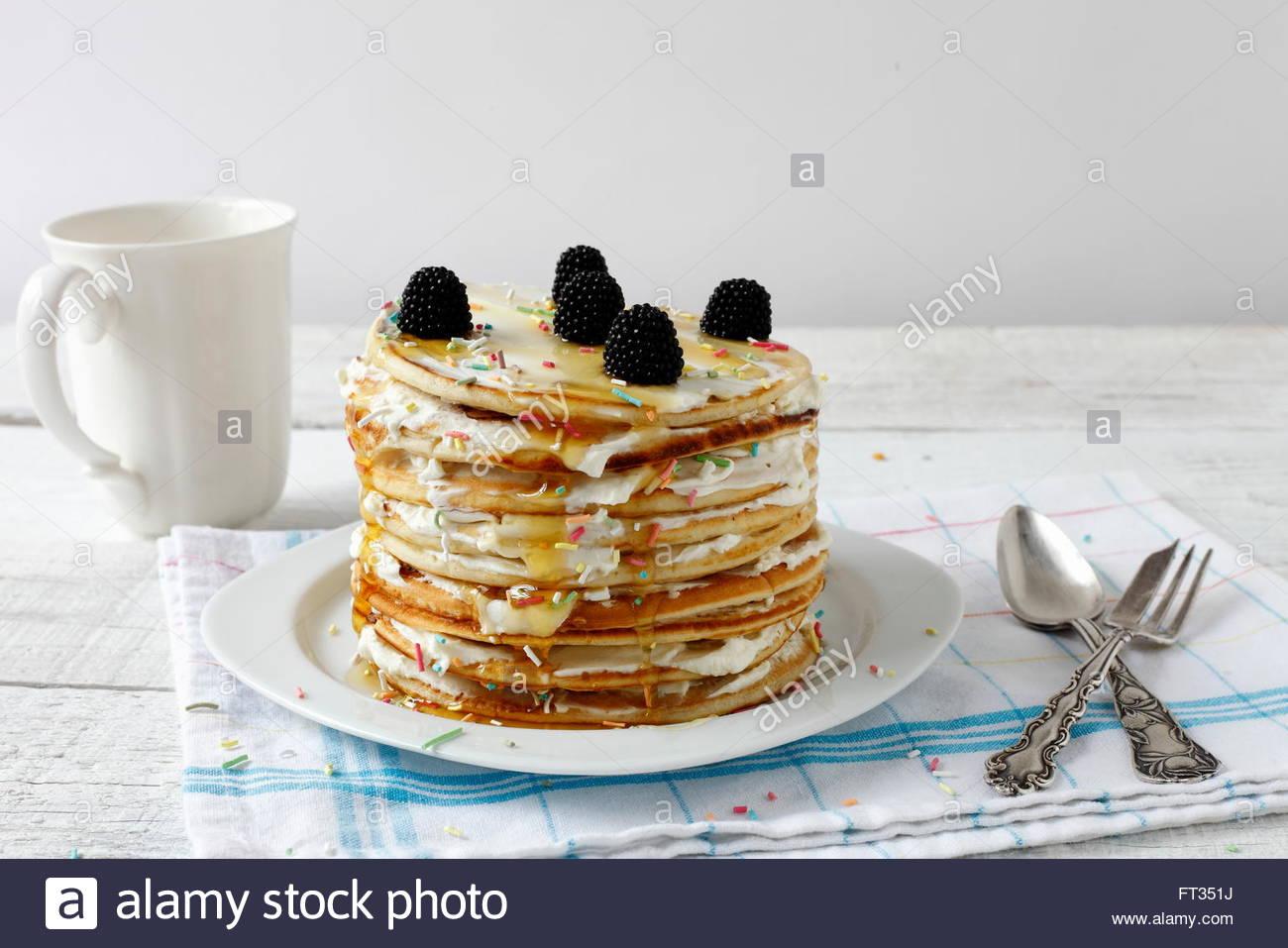 La luce diurna macro fotografato pancake, cibo preparato Immagini Stock