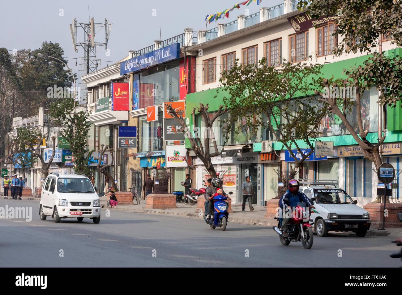 Il Nepal, Kathmandu. Durbar Marg Street. Immagini Stock
