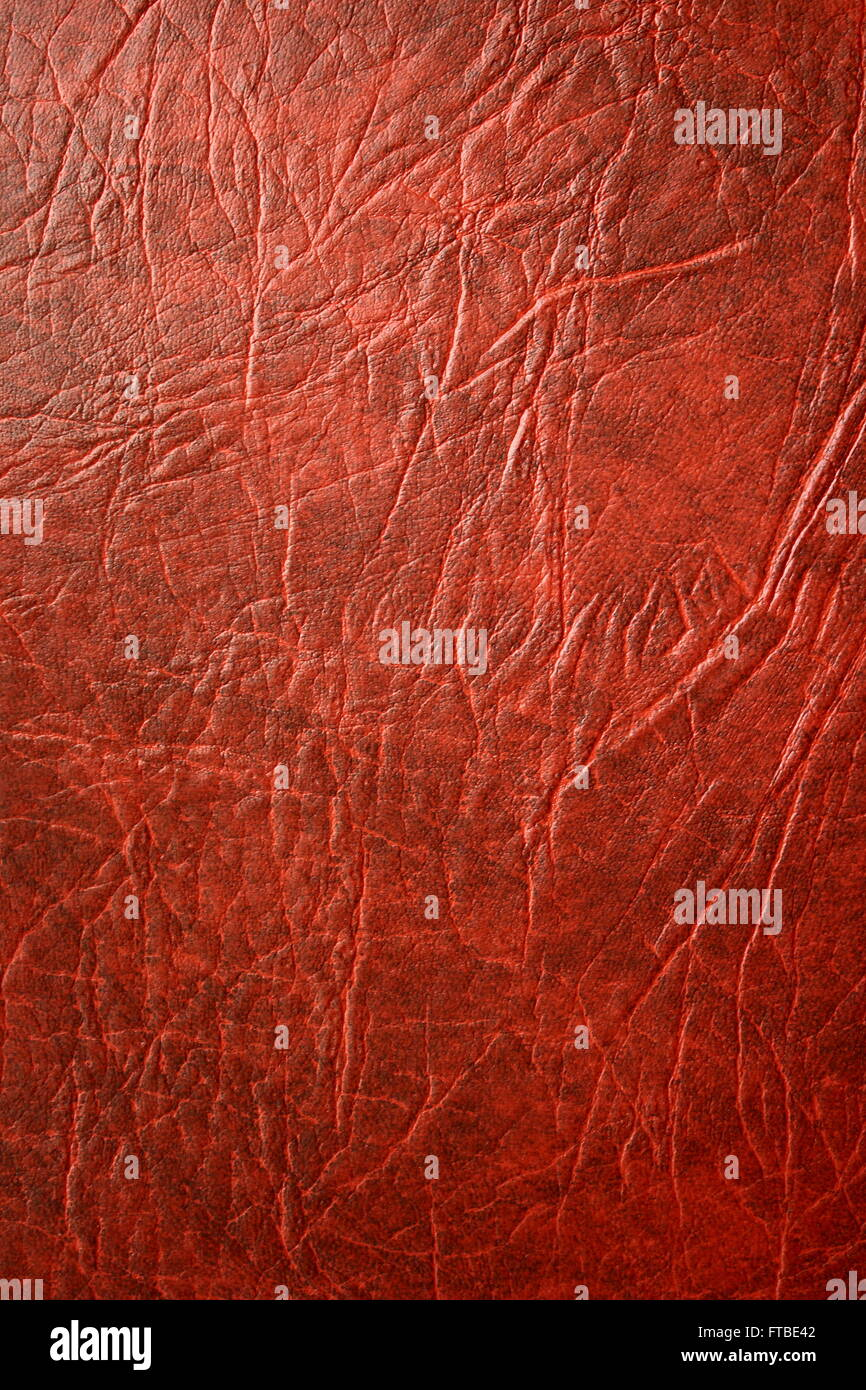 La texture della pelle rossa sfondi pattern in pelle marrone Immagini Stock