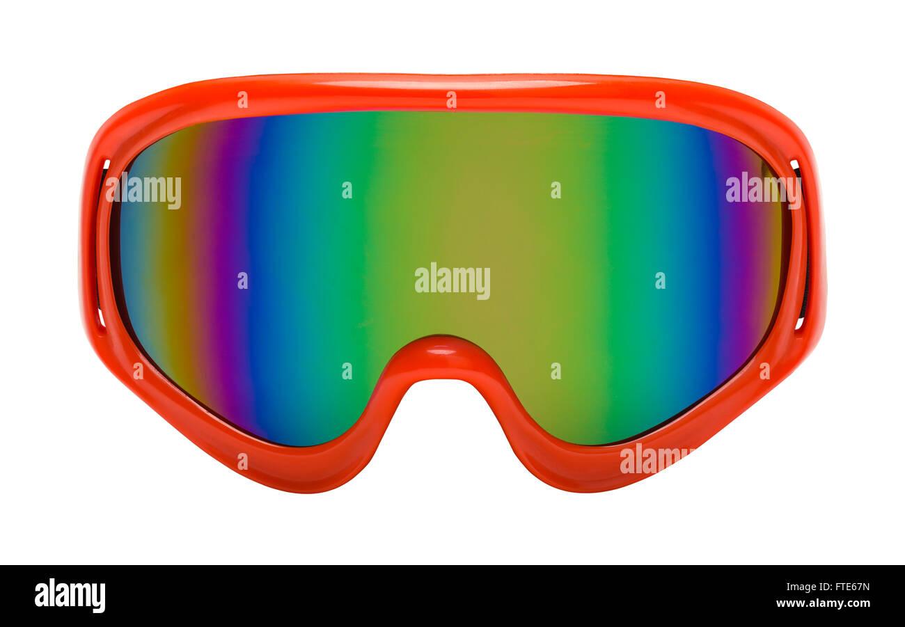 Occhiali rosso con riflessione Arcobaleno Vista frontale tagliato fuori. Immagini Stock