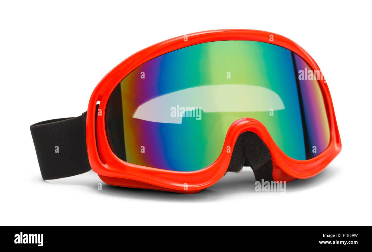 Rosso occhiali da sci con un arcobaleno di lucentezza riflettente isolati su sfondo bianco. Immagini Stock