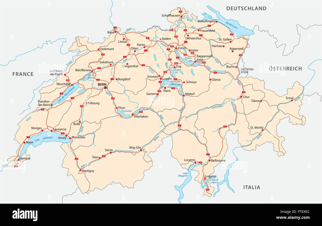 Dettagliata Cartina Della Svizzera.Svizzera Mappa Stradale Immagine E Vettoriale Alamy