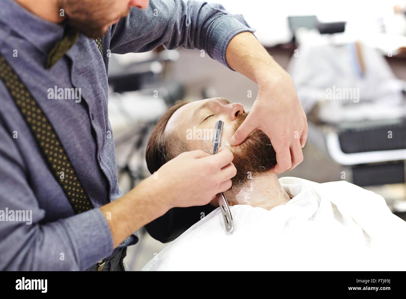 Barba di rasatura Immagini Stock