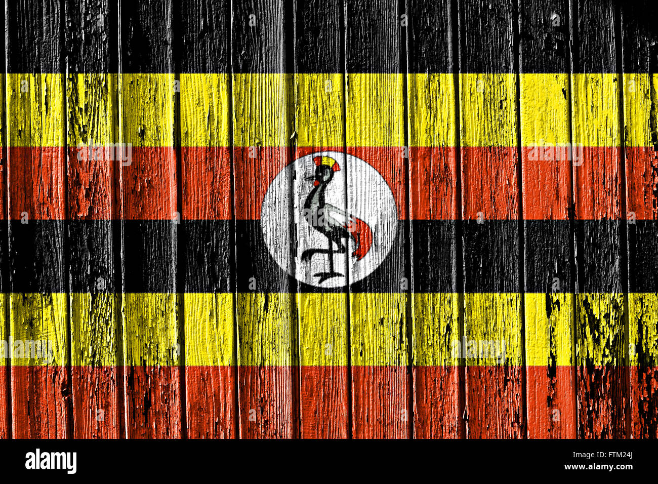 Bandiera di Uganda dipinta sul telaio in legno Immagini Stock