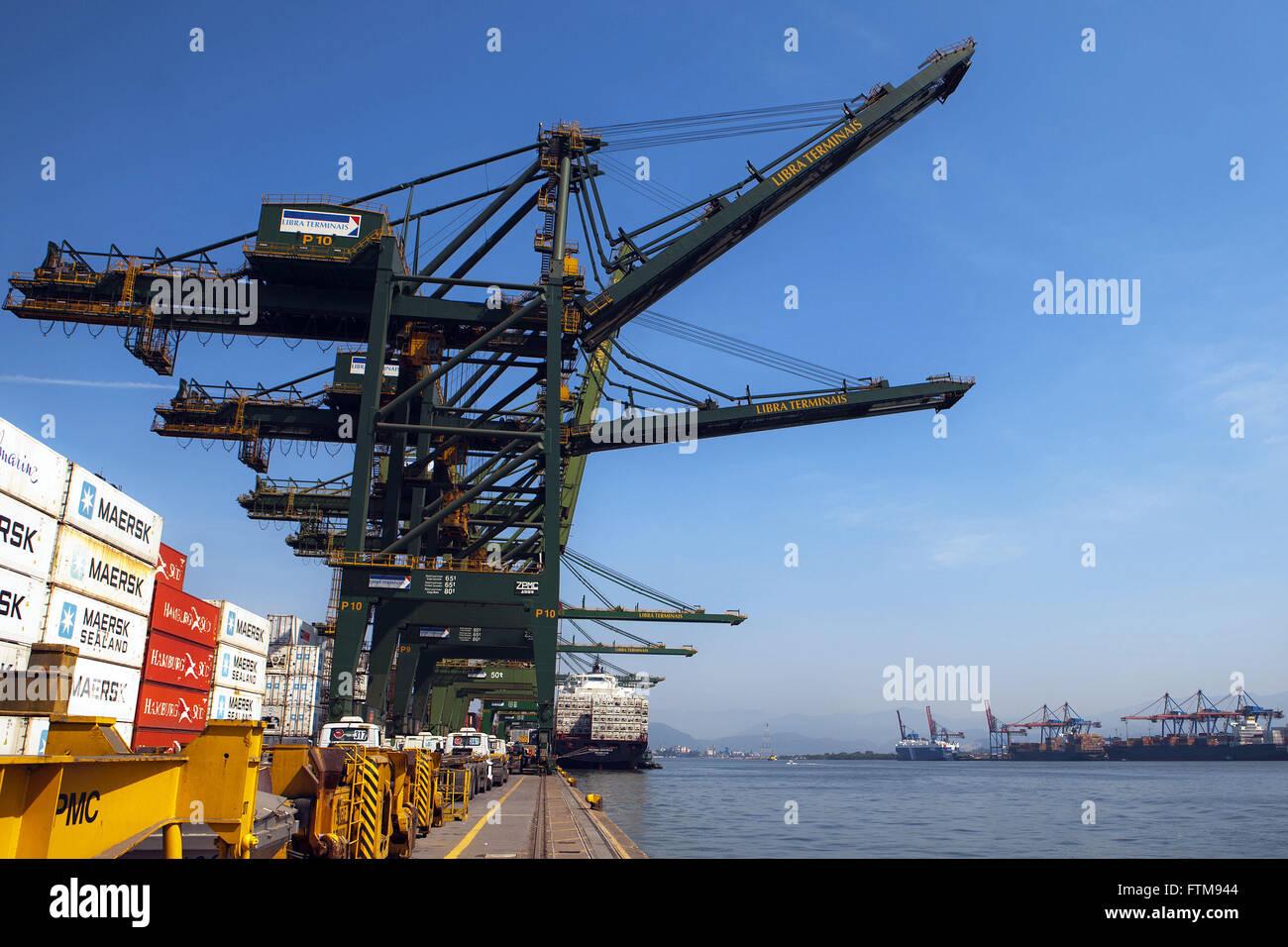 Le gru e i carrelli portanti di contenitori presso il porto di Santos Immagini Stock