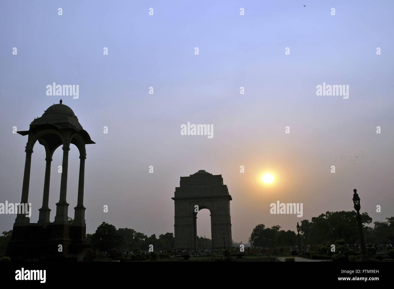 Porta dell'India nella città di Nuova Delhi - Rajpath - Percorso dei grandi boulevard King cittã Immagini Stock