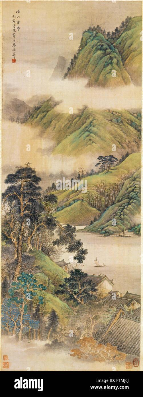 Li Yaoping - Antico tempio tra monti e valli - Museo dell'Arte di Hong Kong Immagini Stock