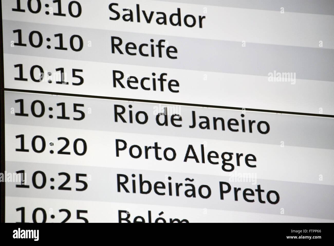 Pannello informare orario di arrivo dei voli dall'aeroporto internazionale di São Paulo/Guarulhos Immagini Stock