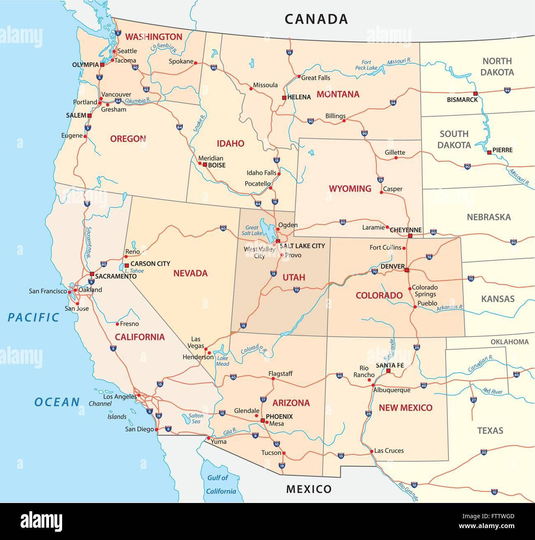 Cartina Stradale Usa Ovest.Gli Stati Uniti Occidentali Mappa Stradale Immagine E Vettoriale Alamy
