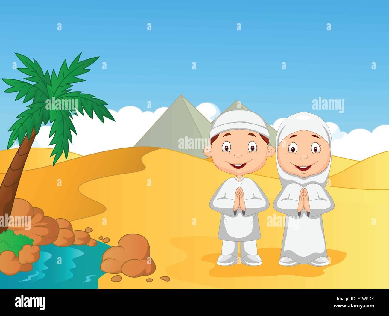 Cartone animato per bambini musulmani con sfondo piramide