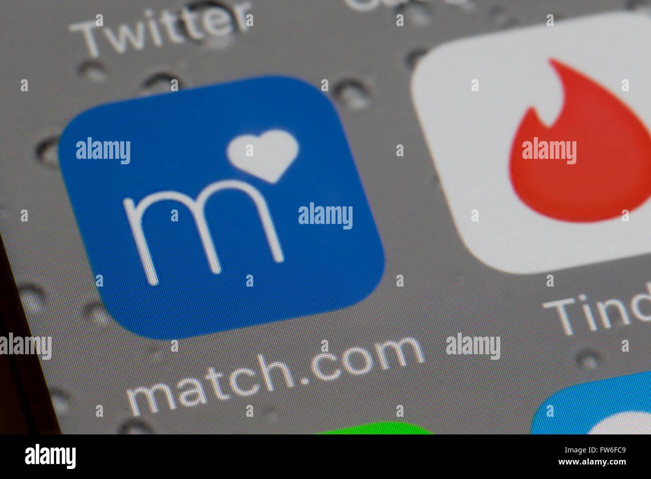 Match.com internet dating app Immagini Stock