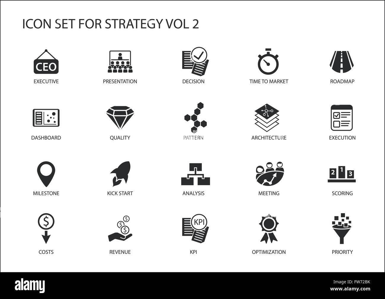 Icona di strategia impostata con vari simboli per temi strategici come ottimizzazione, dashboard,la prioritizzazione. Immagini Stock