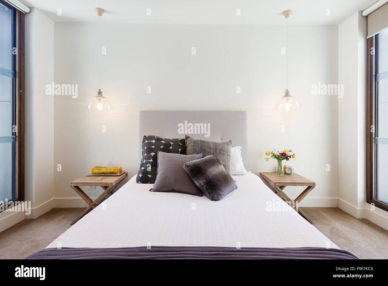 Bello stile hamptons arredamento camera da letto nella casa di