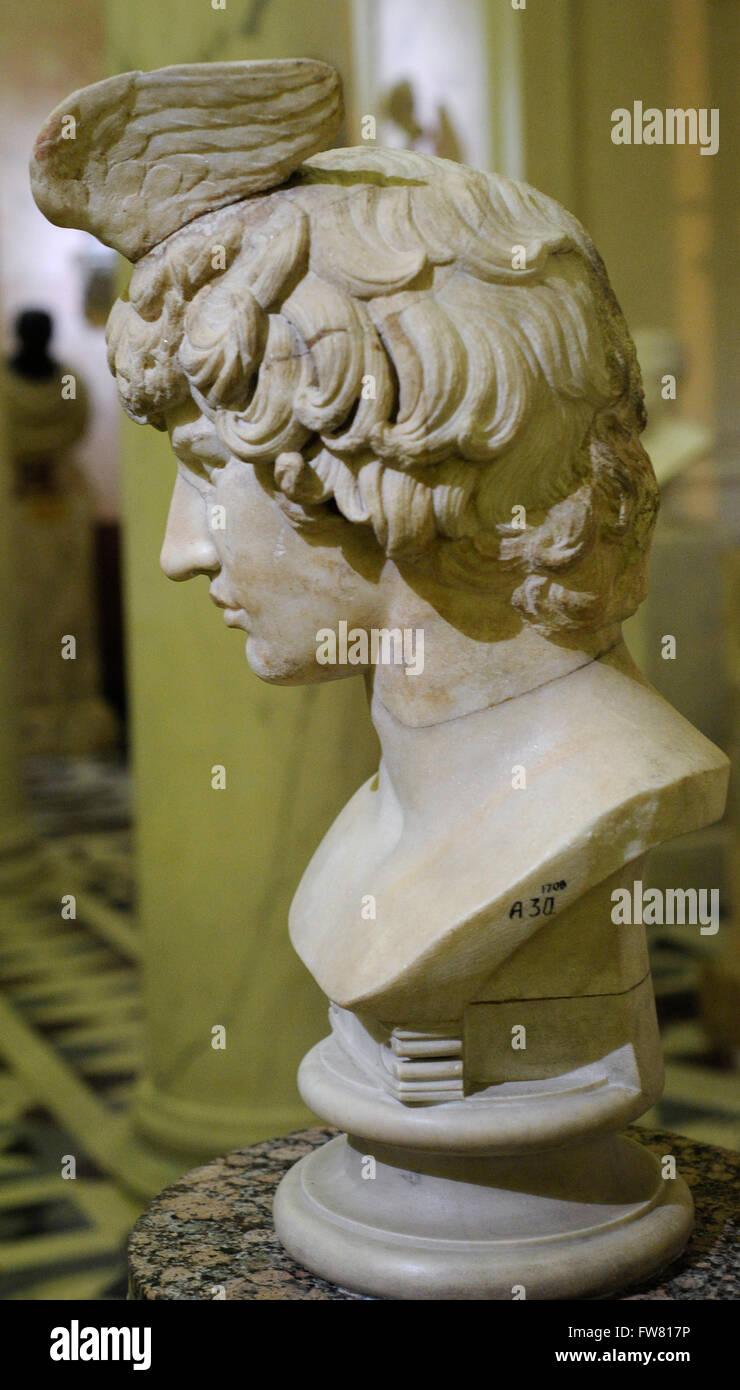 Busto di Antinoo (111-130). Bithynian gioventù greca un un preferito o un amante di Adriano. Opera Romana. Immagini Stock