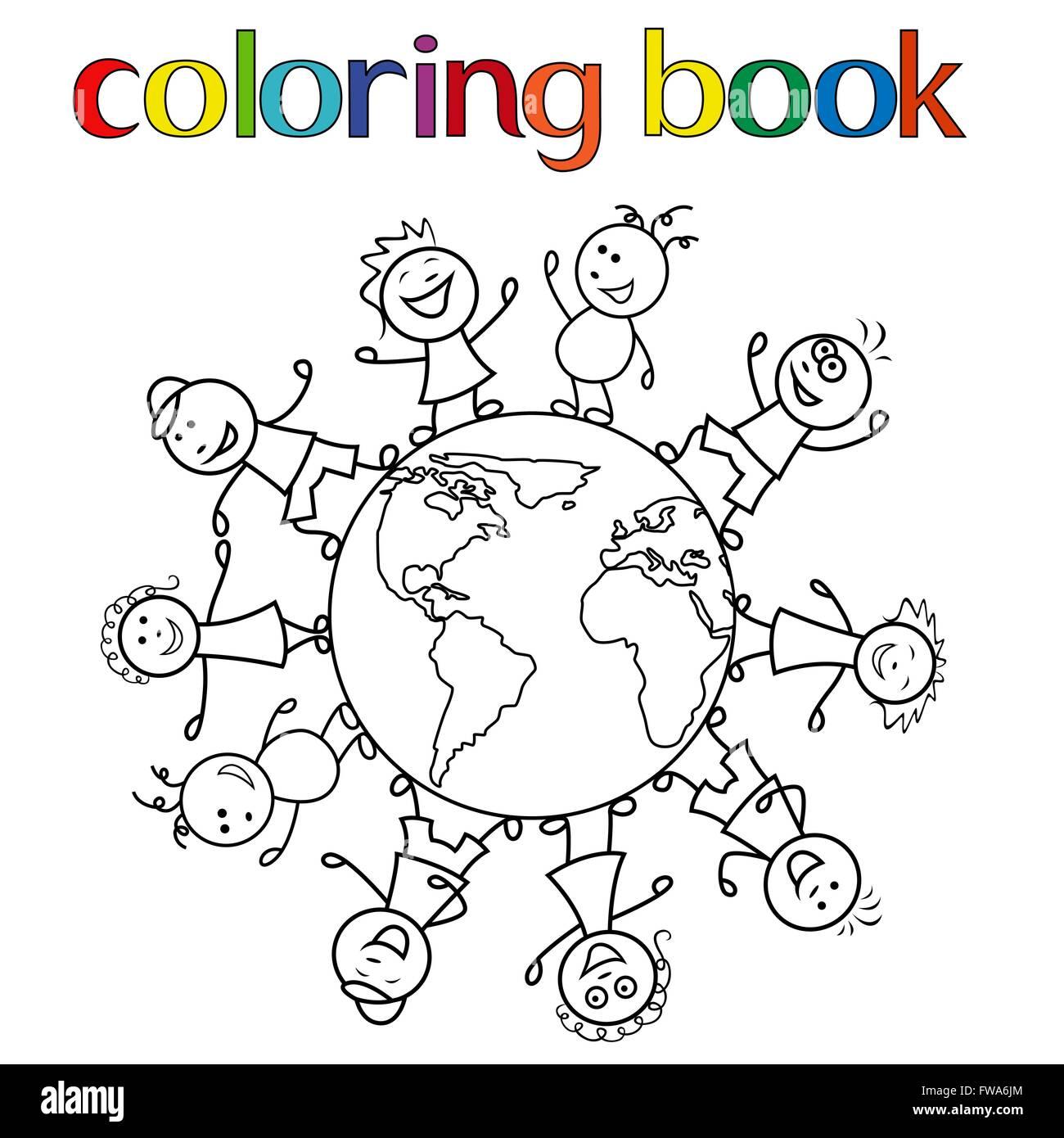 Bambini Di Tutto Il Mondo Da Colorare.Felice Unite Insieme Ai Bambini Di Tutto Il Mondo Cartoon Illustrazione Vettoriale Per Libro Da Colorare Immagine E Vettoriale Alamy