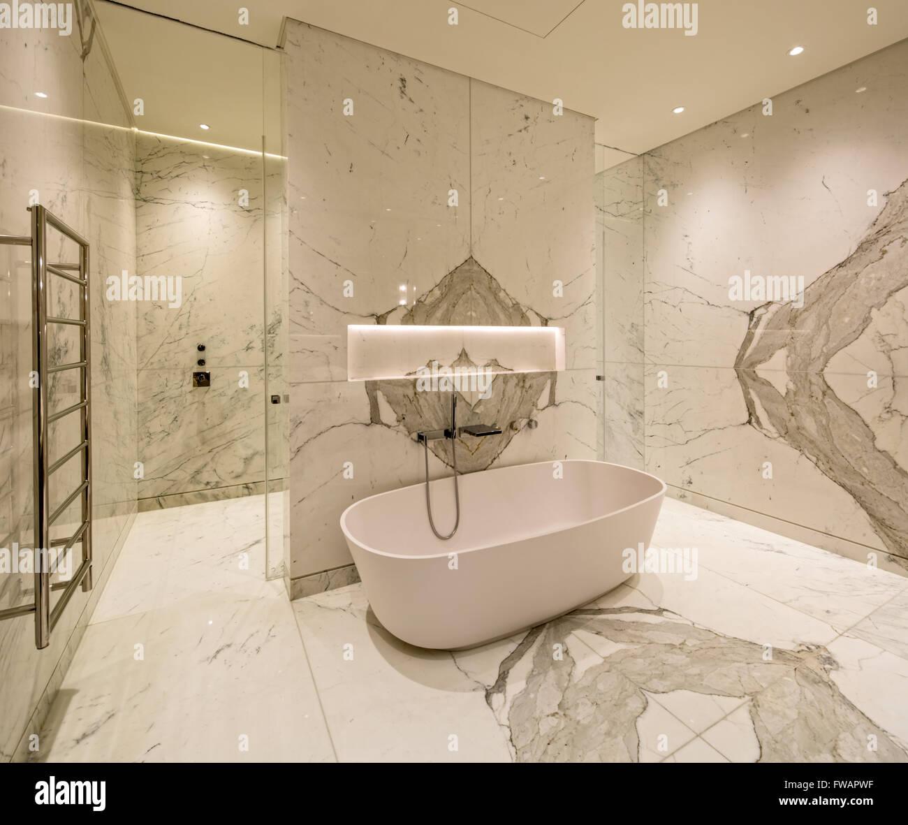 Bagno In Marmo Di Lusso In Londra Appartamento Attico Foto