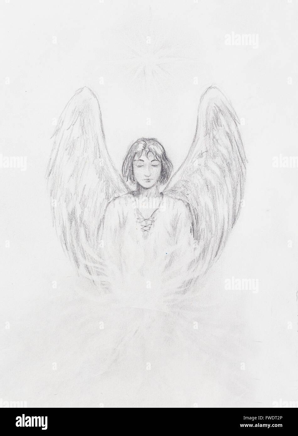 Disegno Di Angelo Con Bellissime Ali Su Un Foglio Di Carta Foto