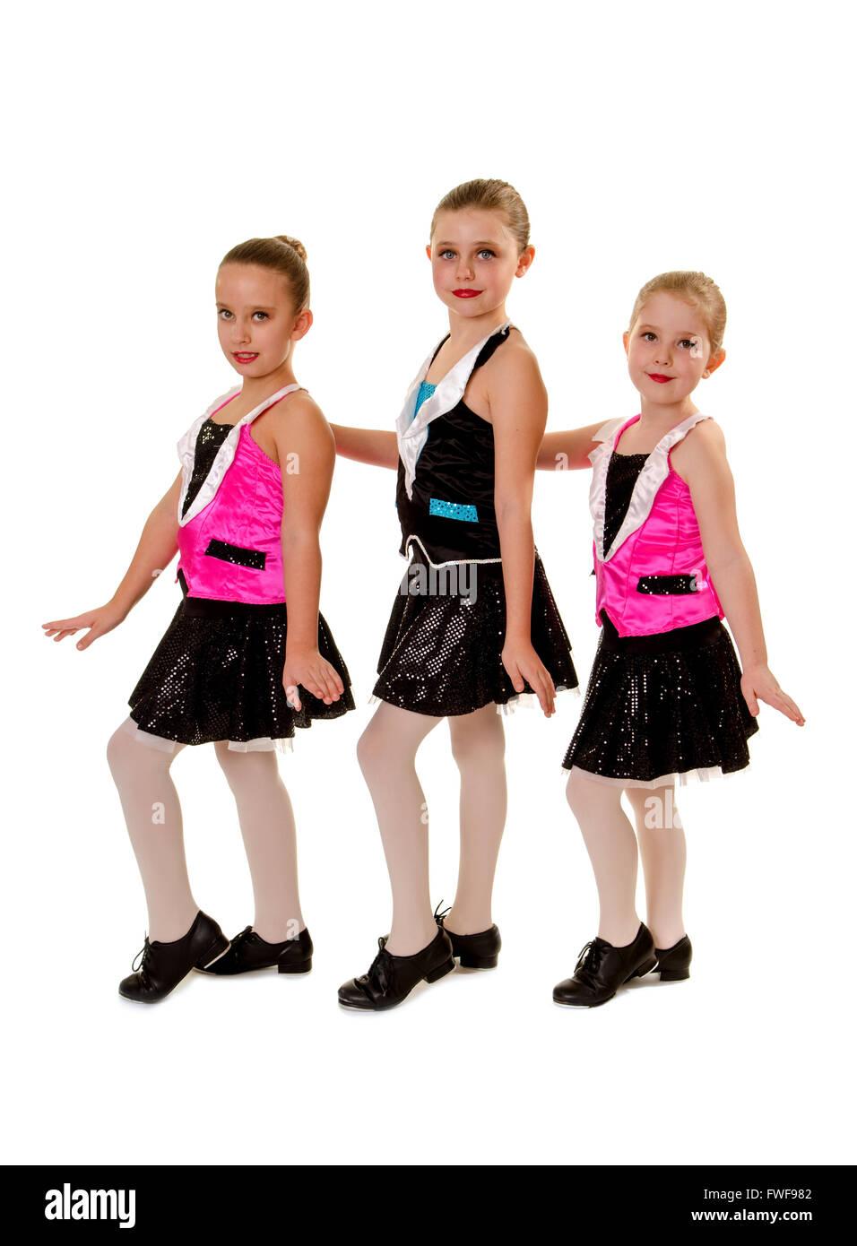 Tre giovani ragazze nelle Junior Tap dance Costume Foto Stock