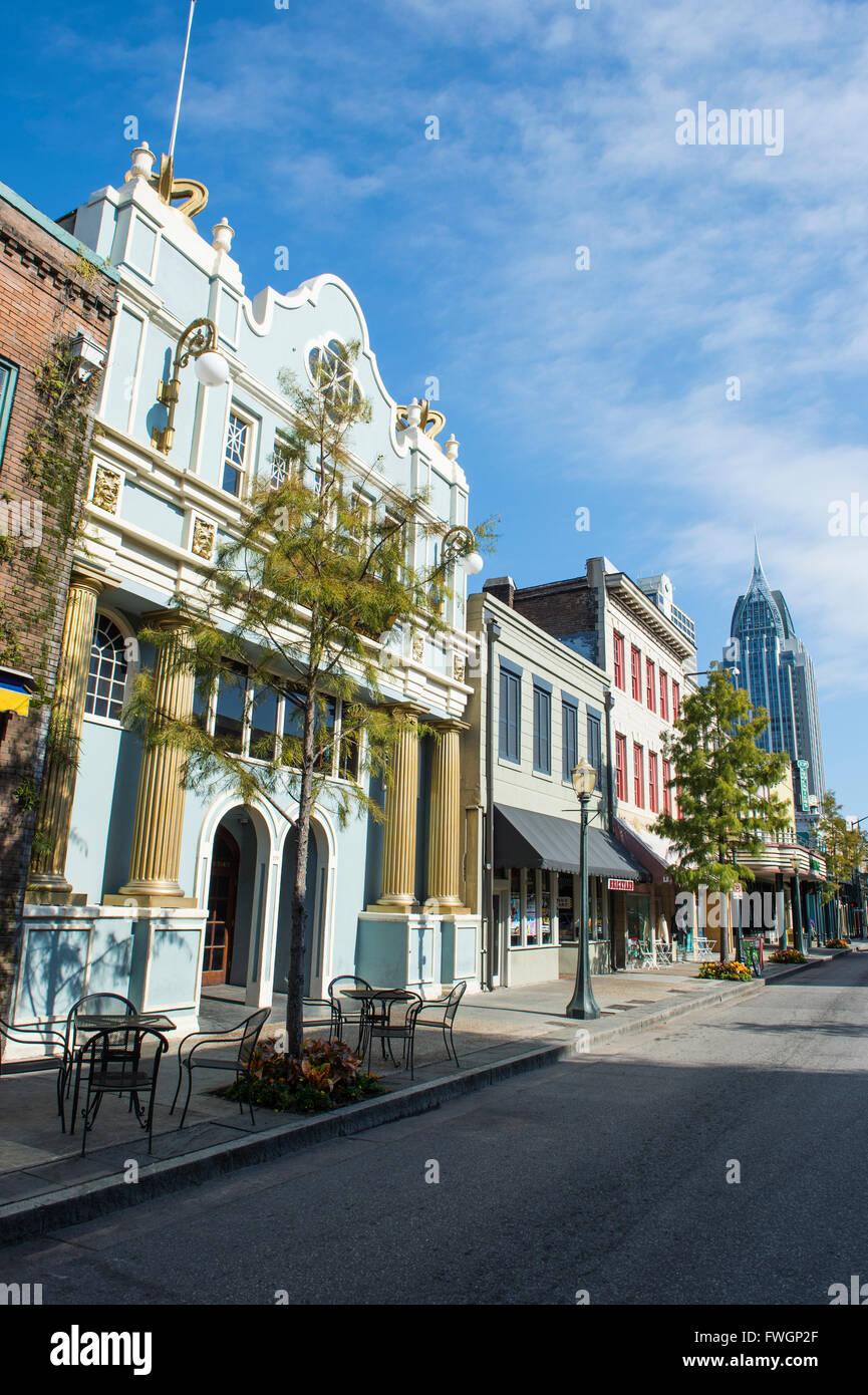 Edifici storici nel centro cittadino di Mobile, Alabama, Stati Uniti d'America, America del Nord Immagini Stock