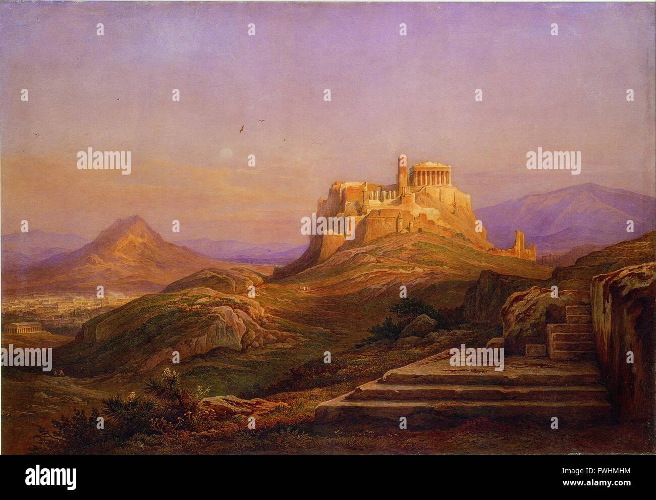 Muller Rodolfo - Vista sull'Acropoli dalla Pnice - Museo Benaki della Civiltà Greca Foto Stock