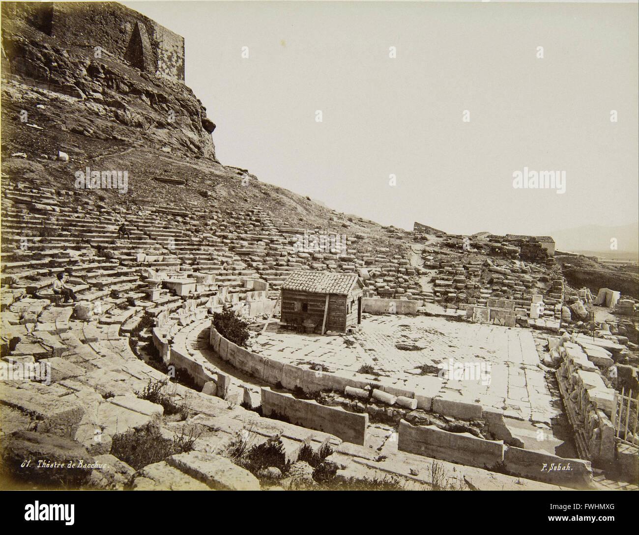 Sebah Pascal - Il Teatro Antico di Dioniso - Museo Benaki della Civiltà Greca Immagini Stock