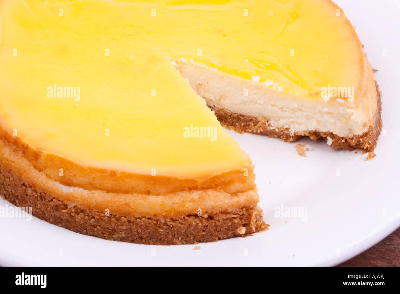 Cheesecake al limone Immagini Stock