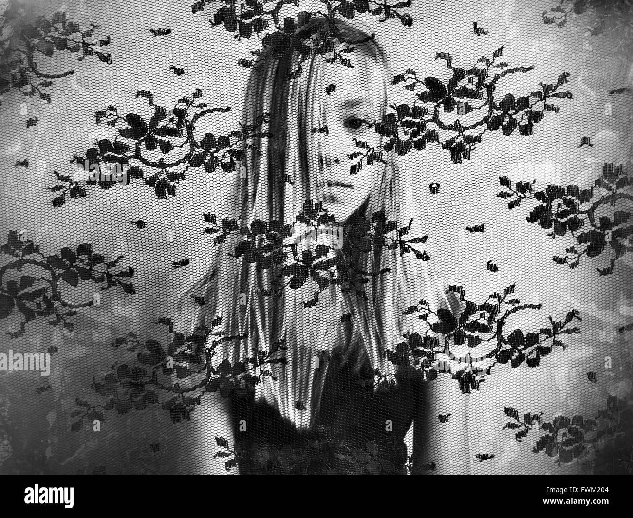 Ritratto di ragazza la faccia coperta da capelli visto da tessuto a rete Immagini Stock