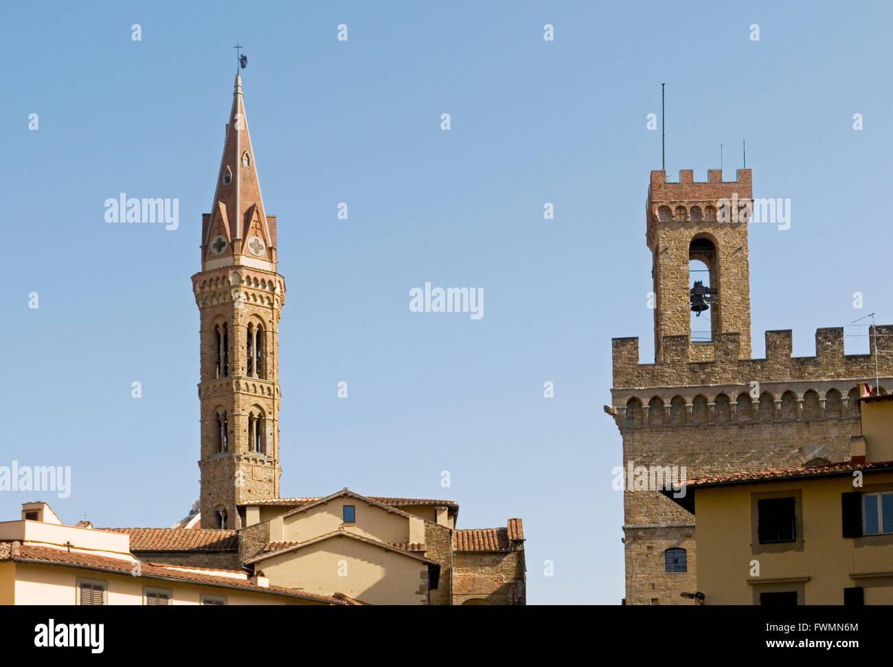 Badia Fiorentina chiesa torre e Palazzo del Bargello tower, Firenze, Italia Foto Stock