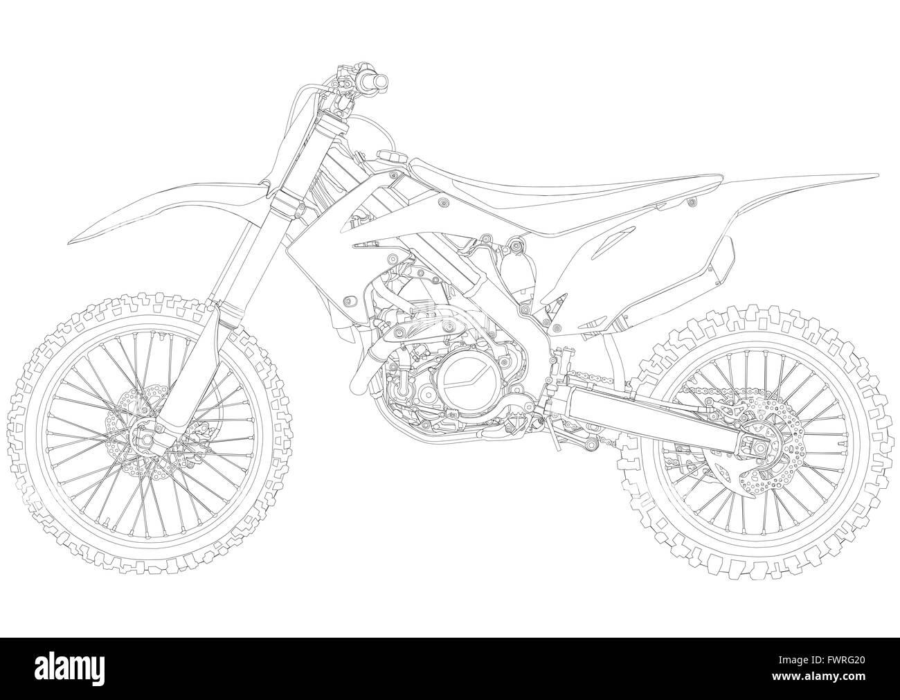 Disegno Della Linea Di Motocross Moto Dal Lato Foto