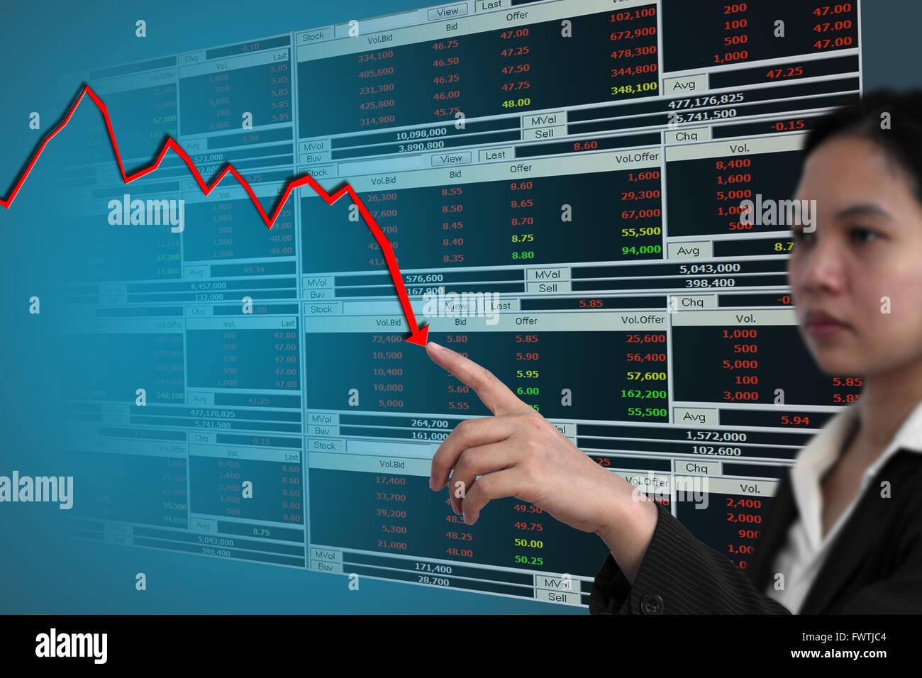 Business donna punto di caduta di grafico del mercato azionario Immagini Stock