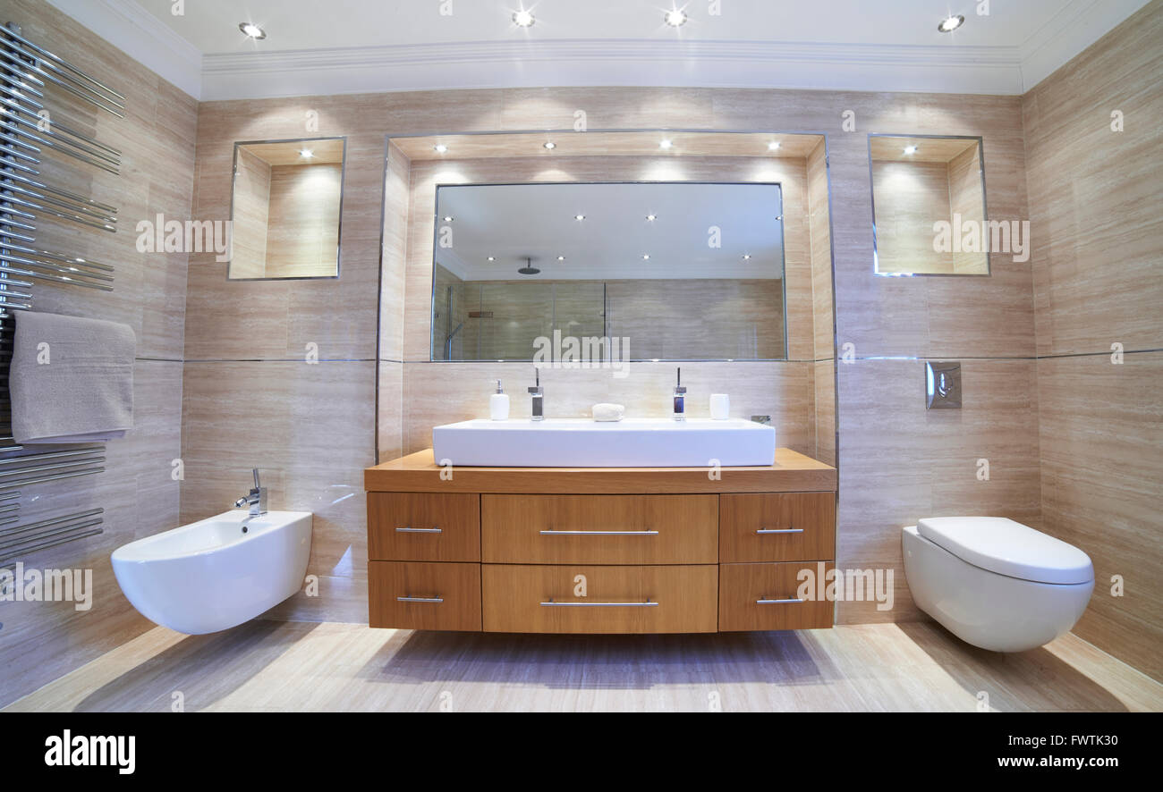 Sala Da Bagno Lusso : Vista interna della bella stanza da bagno di lusso foto immagine