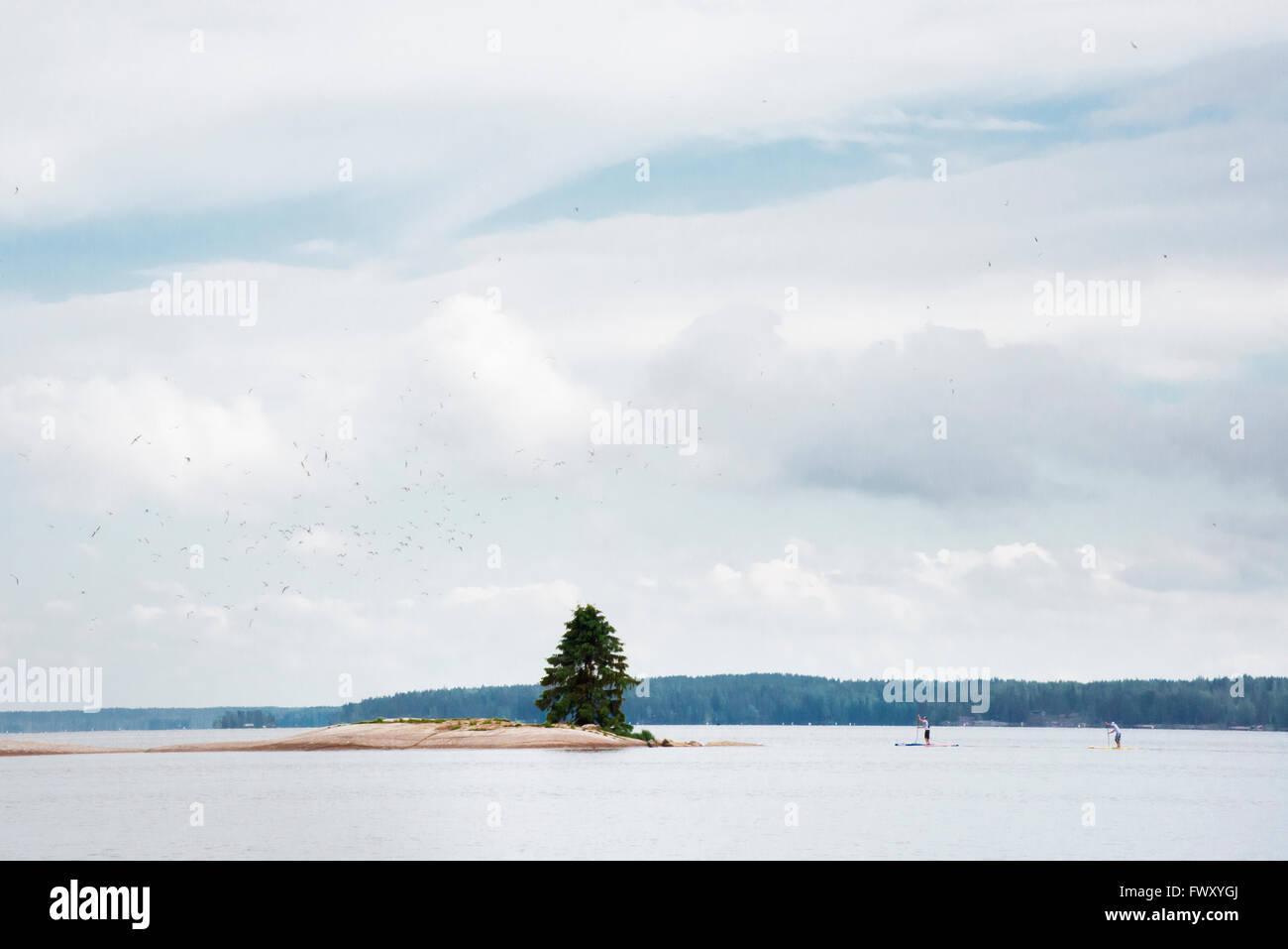 Finlandia, Varsinais-Suomi, Satakunda Eura, Uomini in concorrenza su paddleboards Immagini Stock