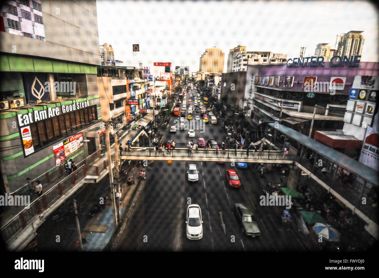 Vista di Bangkok da Metropolitan rapid transit o MRT, 2015 Immagini Stock