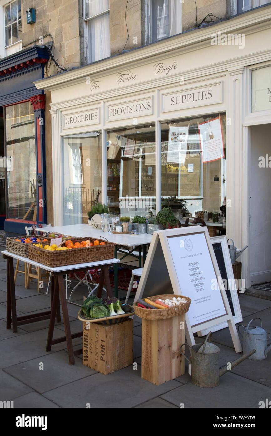 I buongustai Bugle cafe e negozi alimentari, bagno, England, Regno Unito Immagini Stock