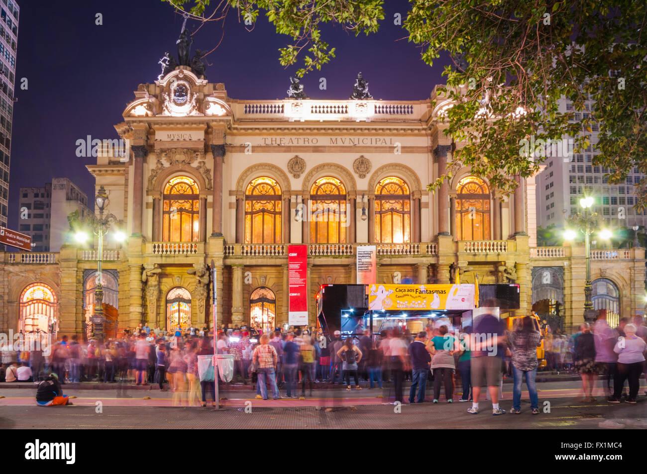 Teatro Comunale di sao paulo, costruito nel 1903 e aperto nel 1911, con la frazione di opera Immagini Stock