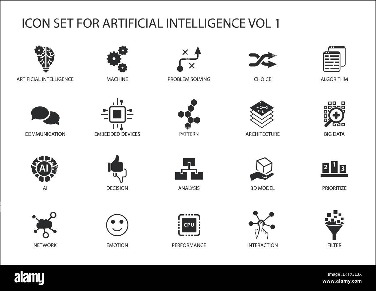 Vector icon set per l'intelligenza artificiale (AI) concetto. Vari simboli per l'argomento Utilizzo di design Immagini Stock