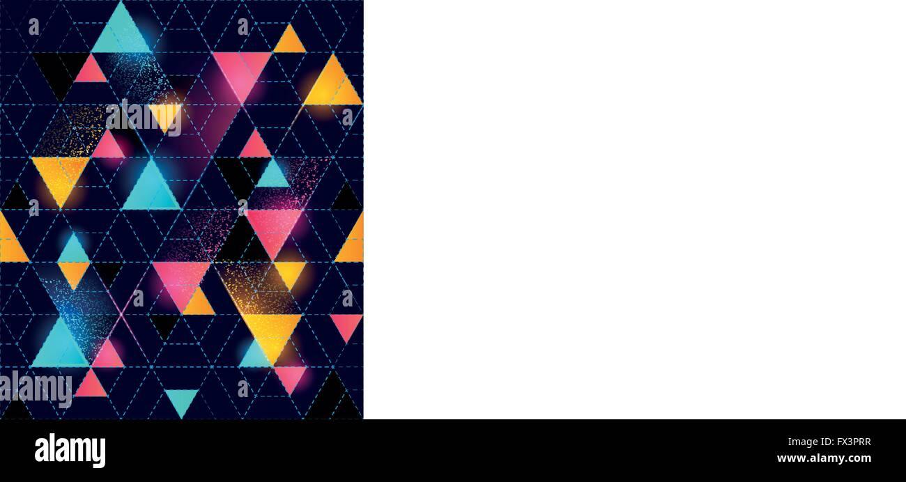 Neon Seamless disegno geometrico. Neonpattern incandescente. Illustrazione Vettoriale. Immagini Stock