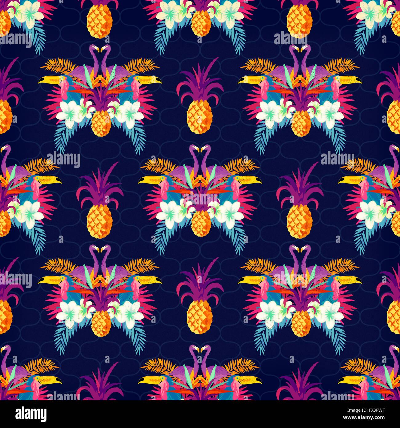 Vivid Tropical Seamless Pattern. colorato sfondo tropico Immagini Stock