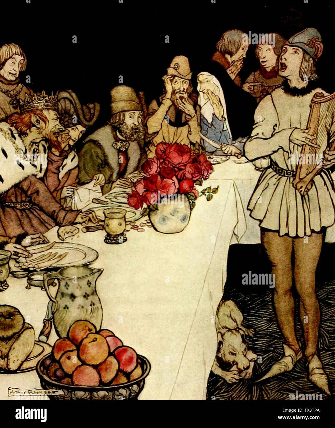 Come in una grande festa che il re fatta segnare è venuto Eliot il harper e ha cantato i laici che Dinadan Immagini Stock
