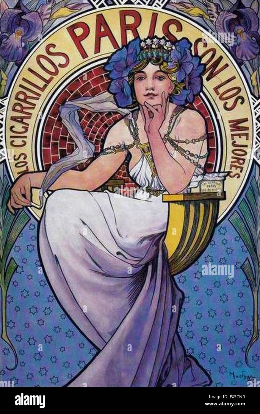Alfons Mucha - Cigares Parigi Immagini Stock