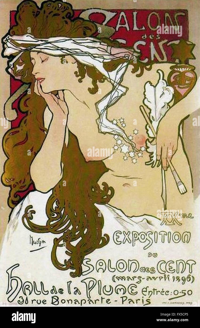 Alfons Mucha - Salon des cent Immagini Stock