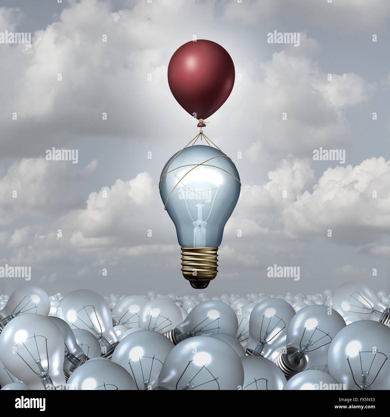 Il pensiero innovativo concetto come un gruppo di 3D illustrazione le lampadine della luce in un vasto paesaggio Immagini Stock