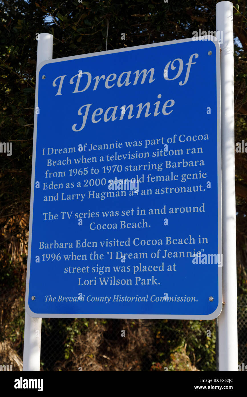 """Io sogno di Jeannie lane in Cocoa Beach, Florida. La strada è così chiamato per il 1970 """" Serie TV Immagini Stock"""