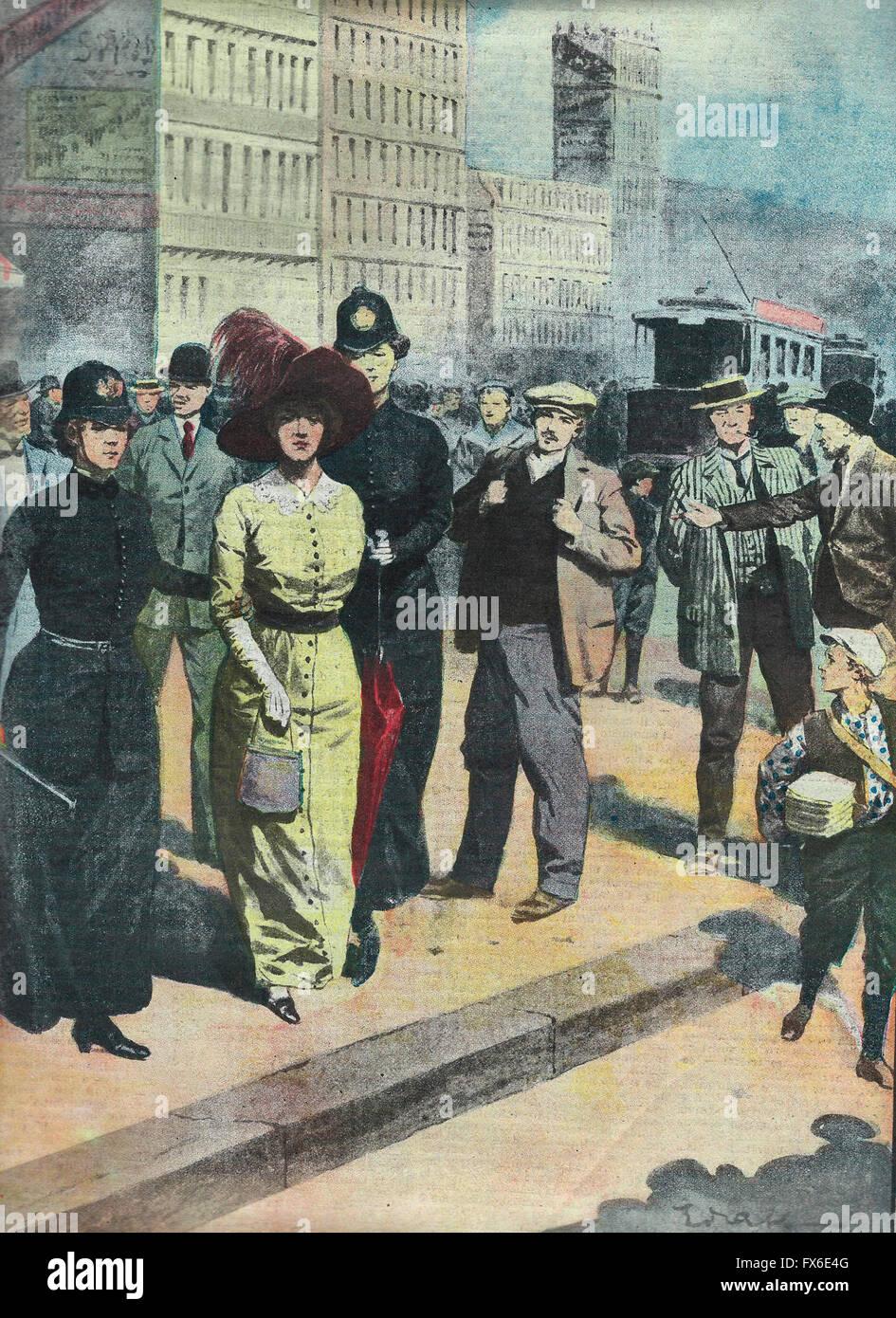 Le conquiste del femminismo : femminile. La prima fermata a Chicago azionato da una pattuglia utilizzato la sorveglianza Immagini Stock