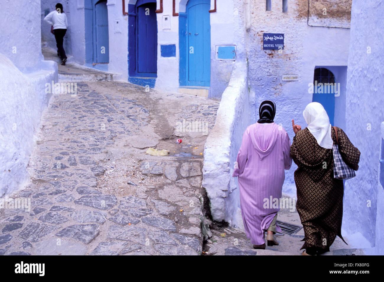 Il Marocco, Chefchaouen, città blu, Rif, donne Foto Stock