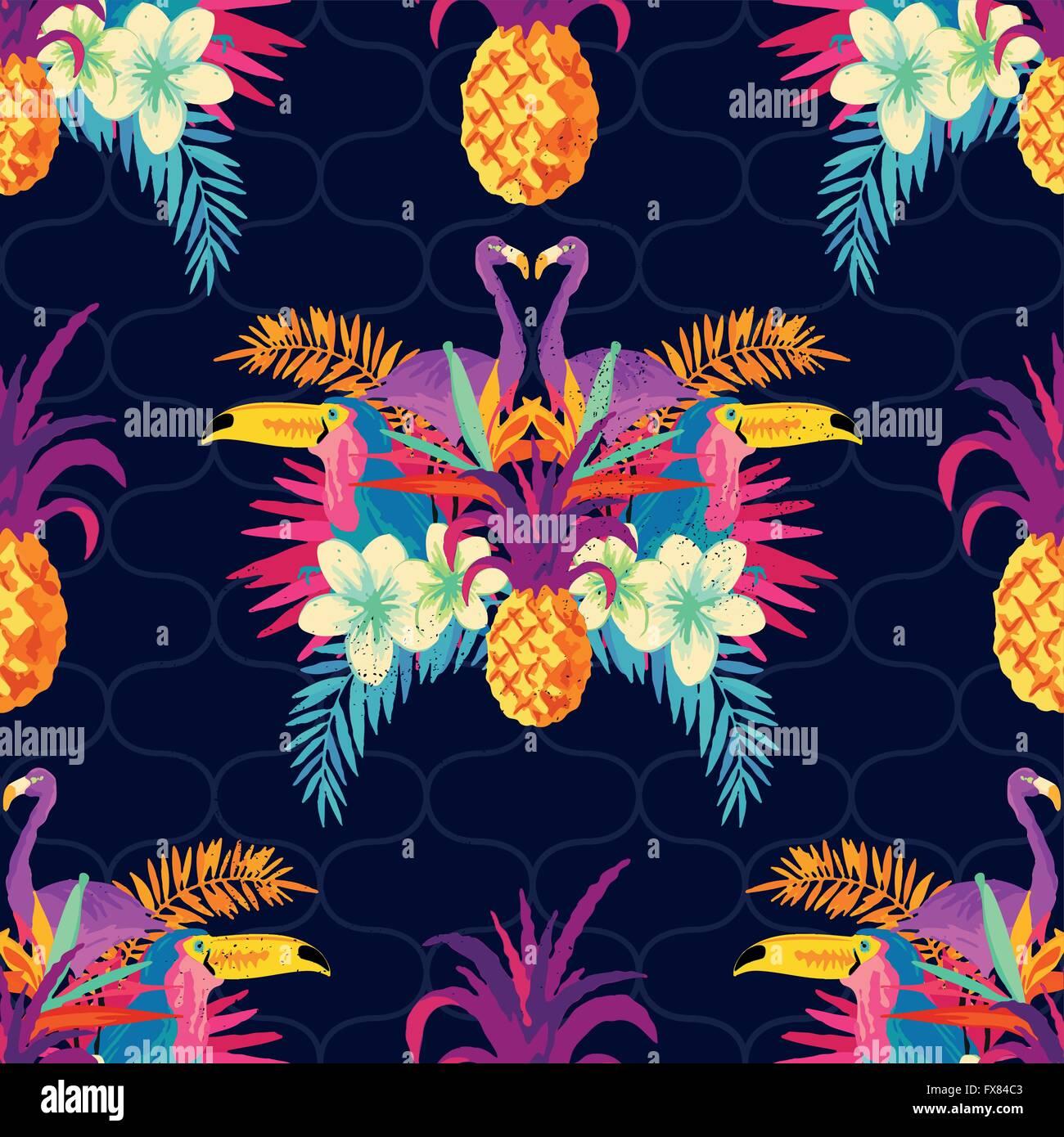 Vivid Tropical Seamless Pattern. Illustrazione Vettoriale. Immagini Stock