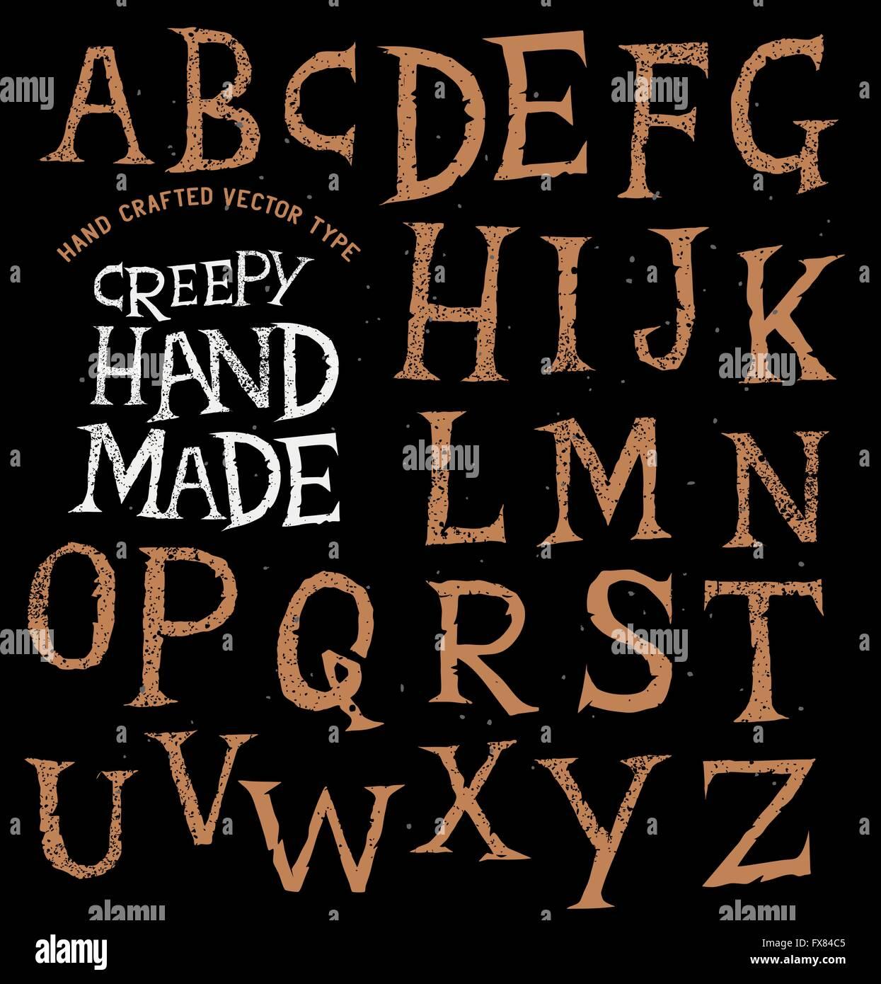 Creepy antiche scritte a mano. illustrazione vettoriale. Immagini Stock