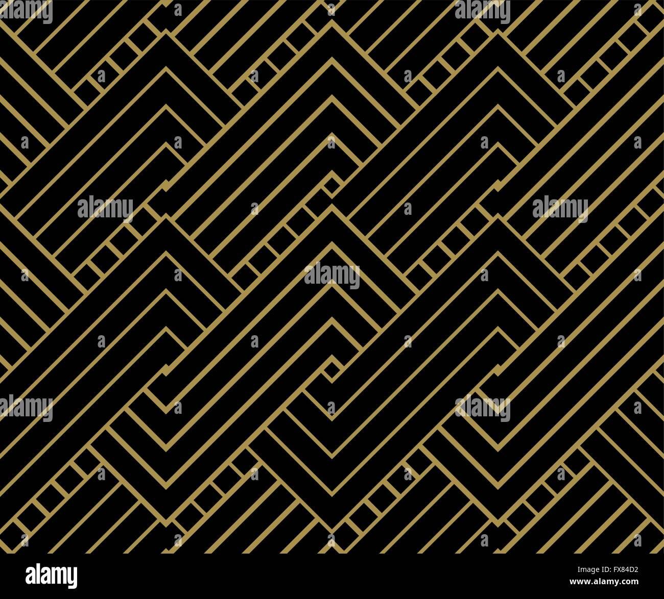 Geometriche forme d'oro dello sfondo. Oro striato sul nero modello geometrico. Illustrazione Vettoriale. Immagini Stock