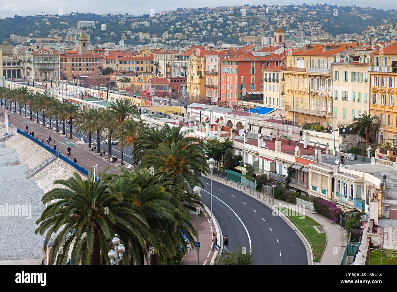 Nizza Promenade des Anglais dal di sopra, Francia Immagini Stock